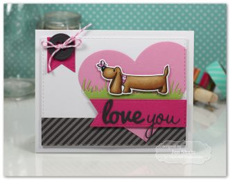 Love You handmade valentine by Jen Shults using stamps and dies from Taylored Expressions