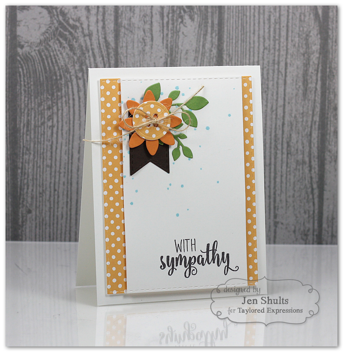 With Sympathy by Jen Shults using Share Joy Challenge 20. Stamps and dies from Taylored Expressions